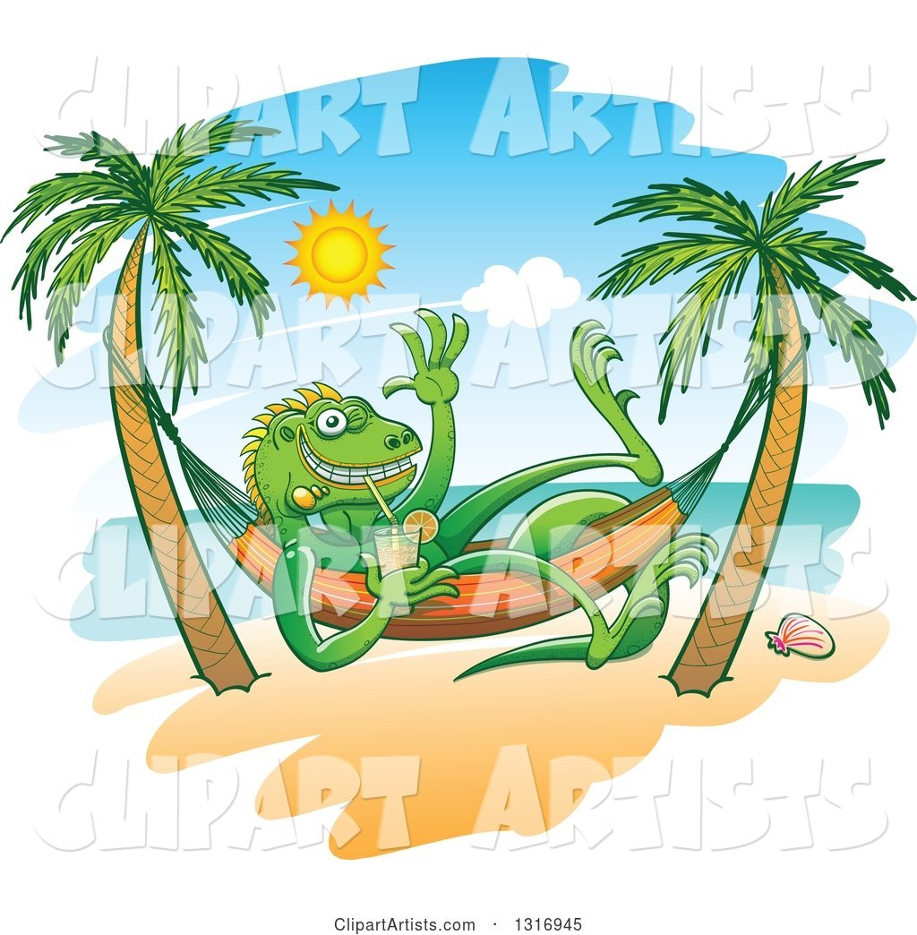 Cartoon Relaxed Iguana Lizard Waving Drinking Iced Tea In