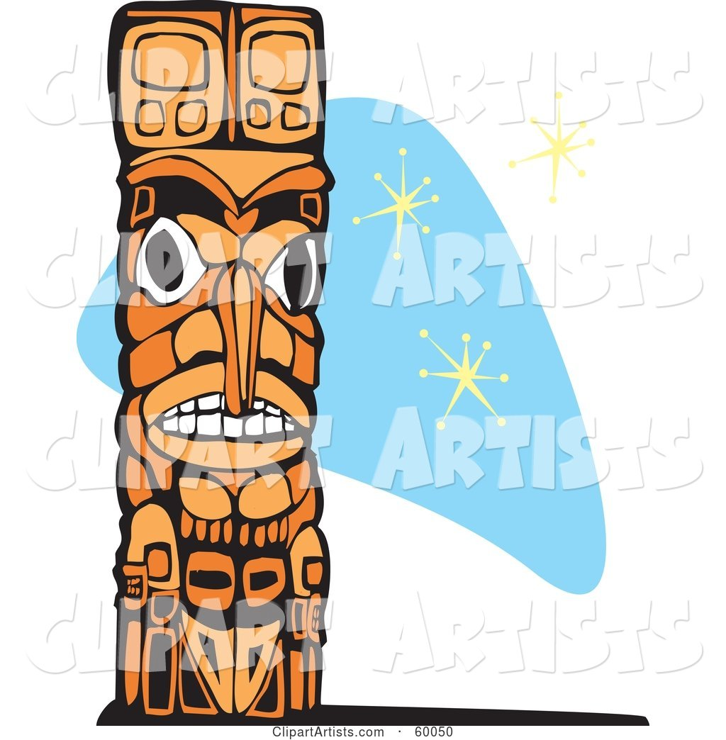 Carved Wooden Totem Pole on a Blue Retro Star Background