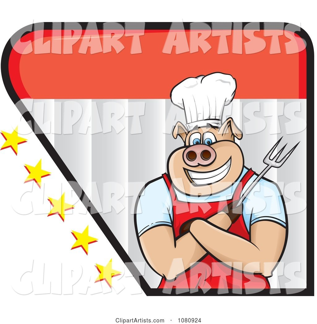 Chef Pig Holding a Fork Logo with Stars