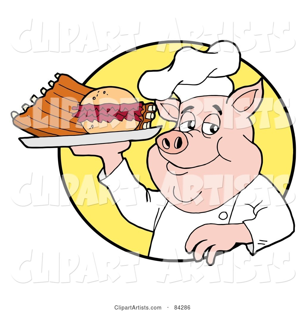 Chef Pig Holding a Pulled Pork Burger and Ribs on a Plate