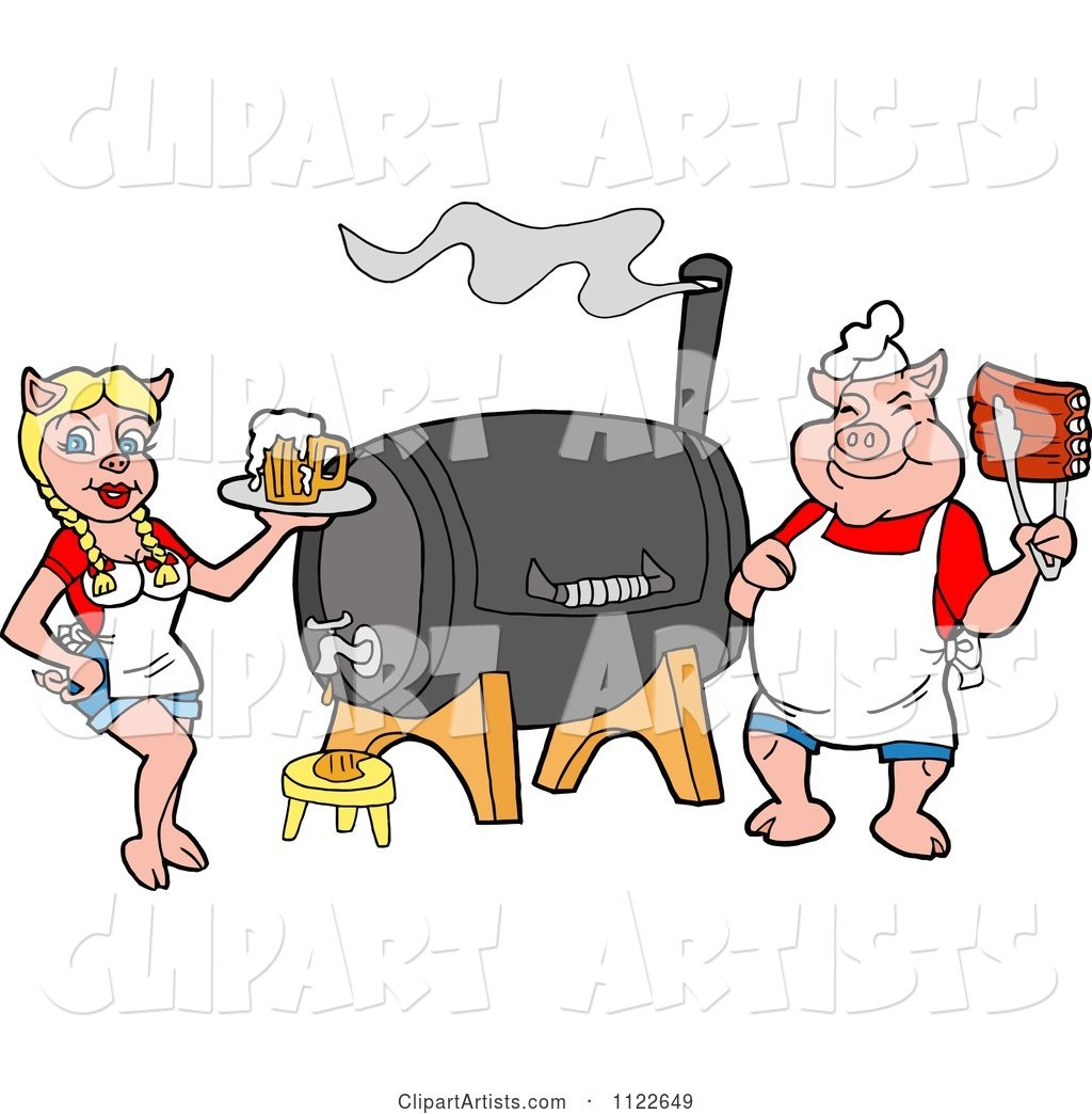 Chef Pig Holding Rips and Waitress Holding Beer by a Smoker