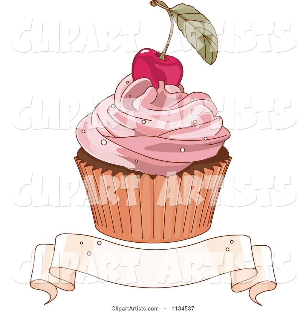 Cherry Topped Cupcake over a Blank Ribbon Banner