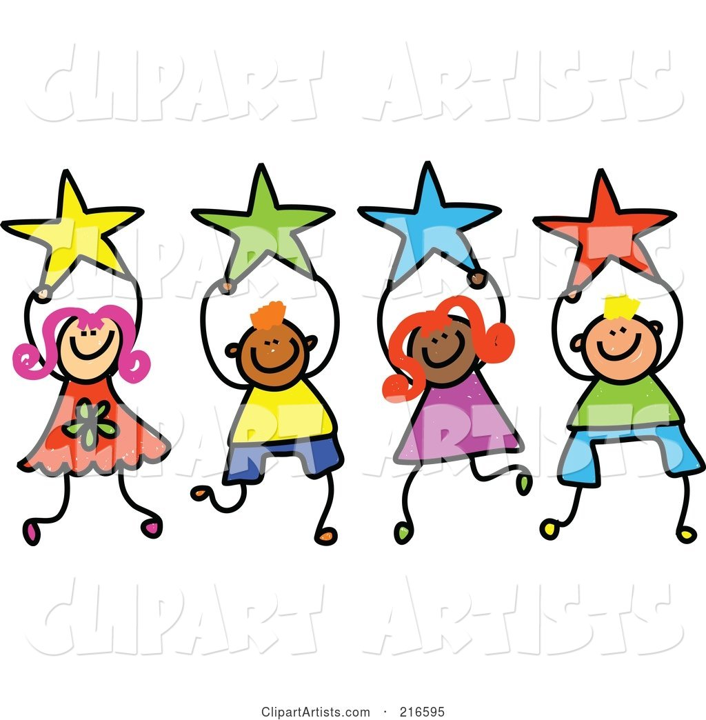 Childs Sketch of a Group of Kids Holding Stars - 2