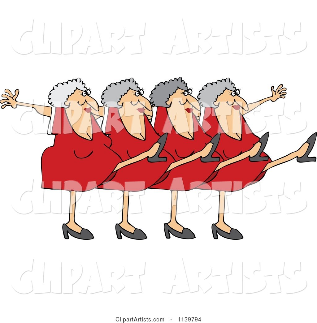 Chorus Line of Old Ladies Dancing the Can Can