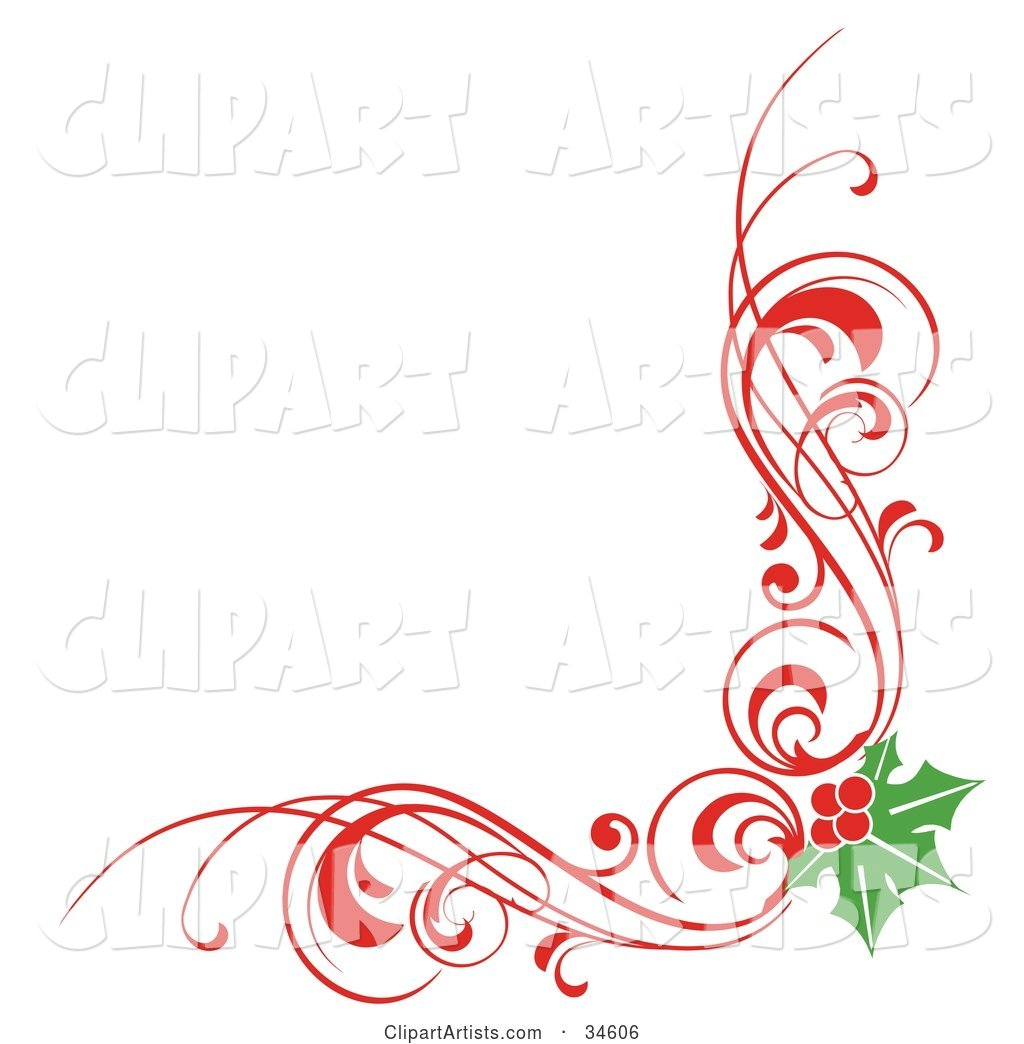Christmas Corner Element of Red Scrolls and Holly