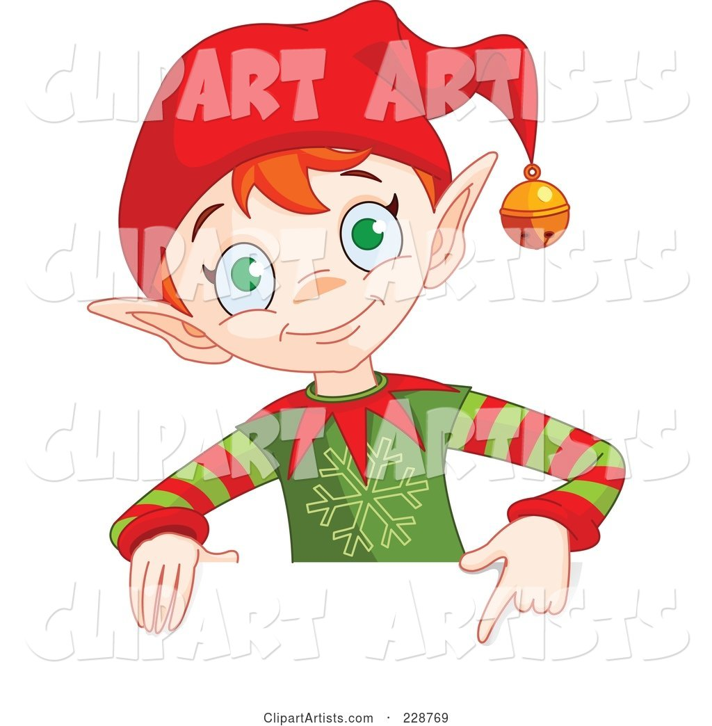 Christmas Elf Holding and Pointing to a Blank Sign