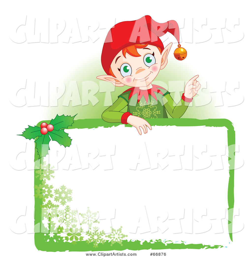 Christmas Elf Standing Behind a Green Blank Sign