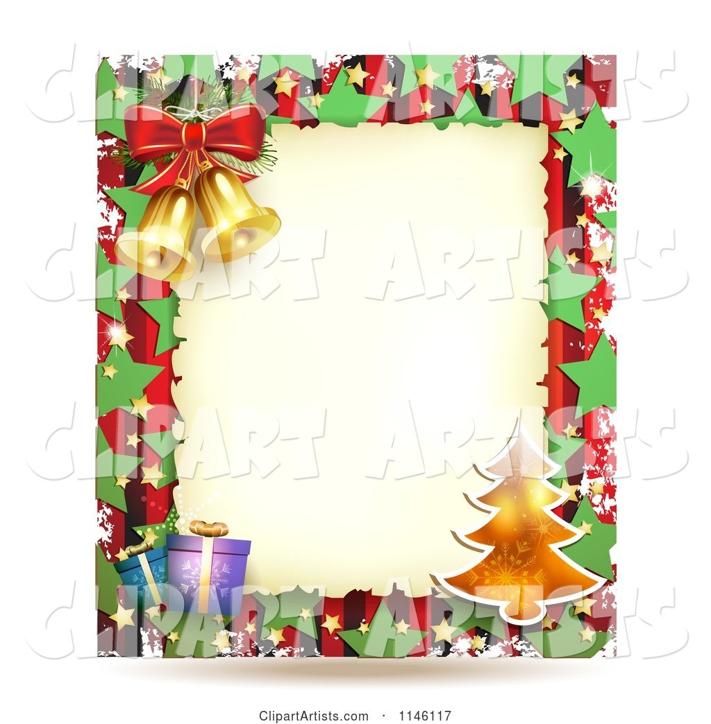 Christmas Frame with Gifts a Tree and Bells