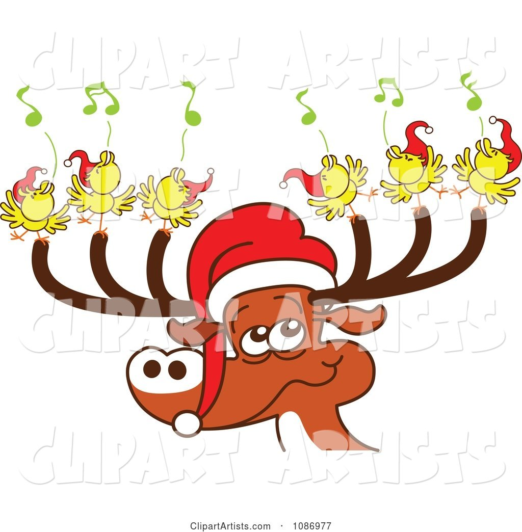 Christmas Reindeer with Caroling Birds and a Santa Hat