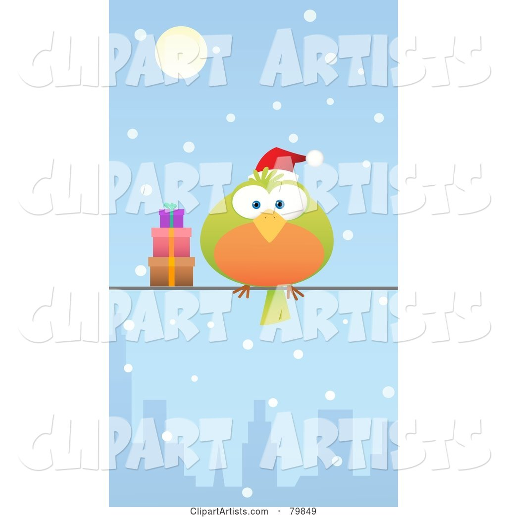 Chubby Green and Orange Christmas Bird Wearing a Santa Hat and Perched by Gifts on a City Wire in the Snow