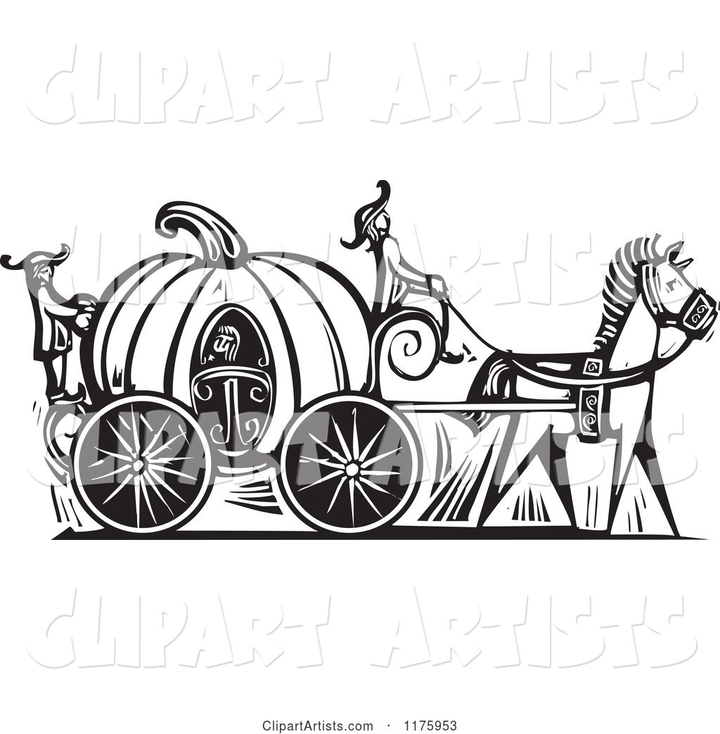 Cinderella in a Pumpkin Carriage Black and White Woodcut