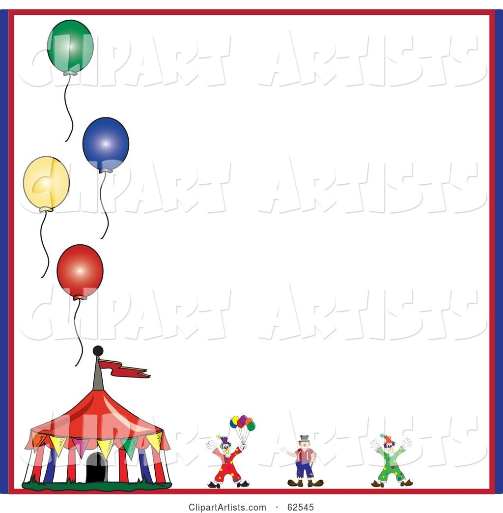 Circus Clown and Tent with Balloons on a White Background