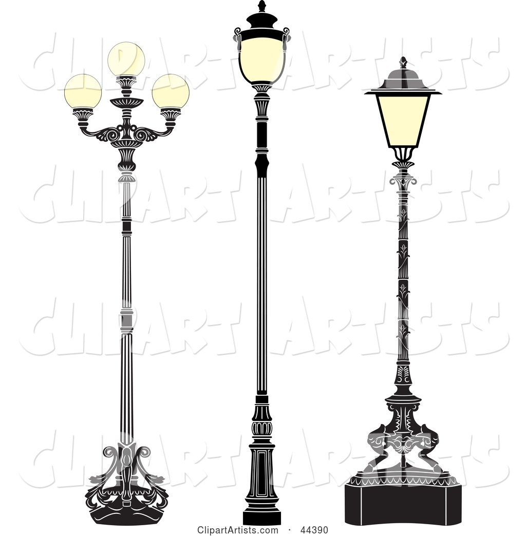 Collage of Three Antique Iron Street Lamps