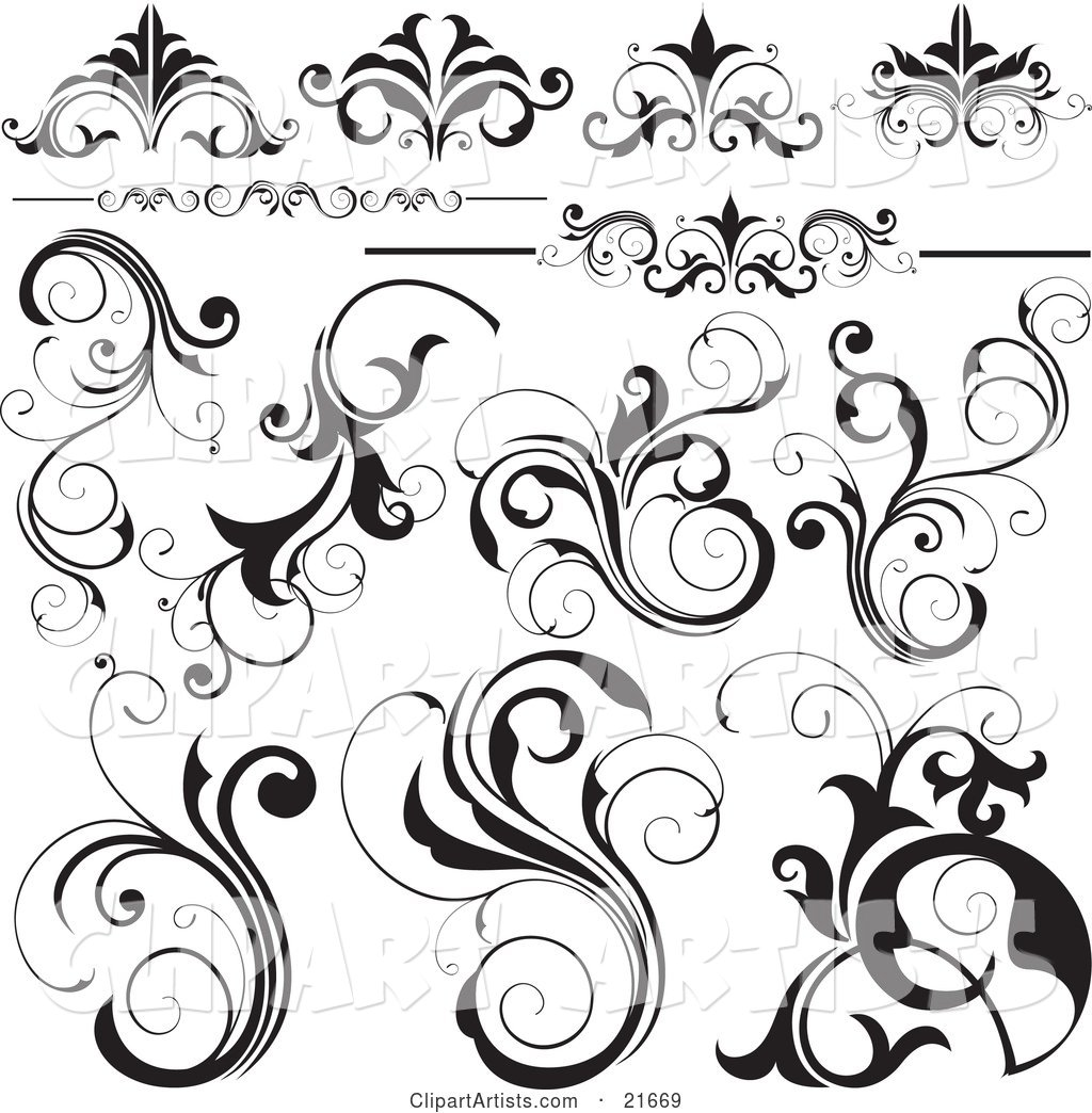 Collection of Black and White Flourishes, Flowers and Vines, over White