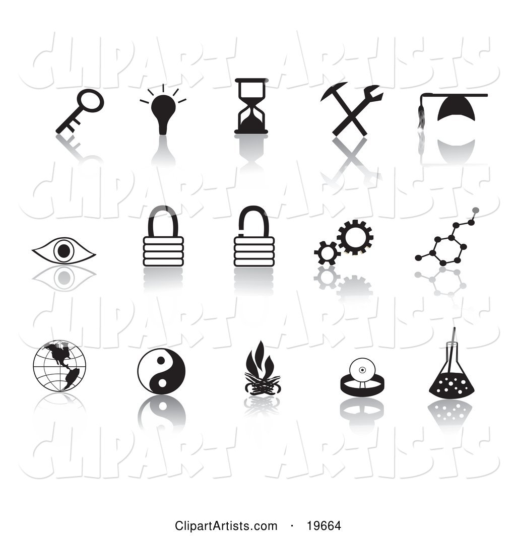 Collection of Black Random Icons on a Reflective White Background