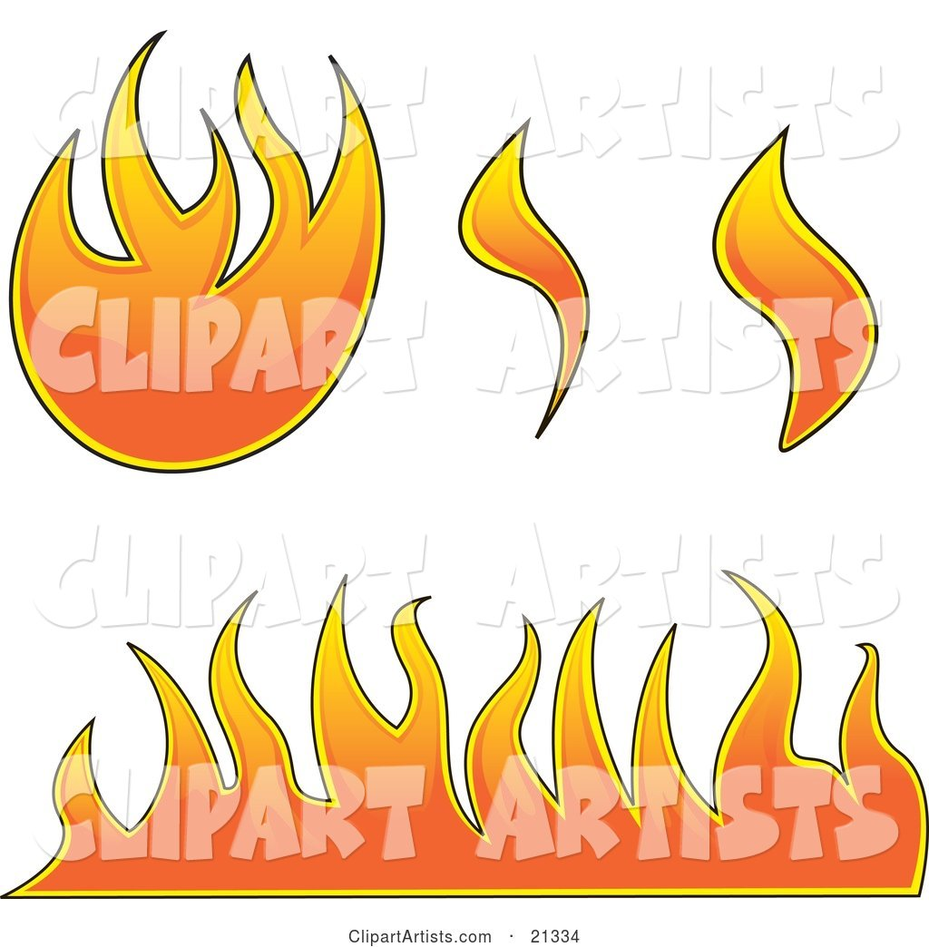 Collection of Fires, Flames and Fireballs over White