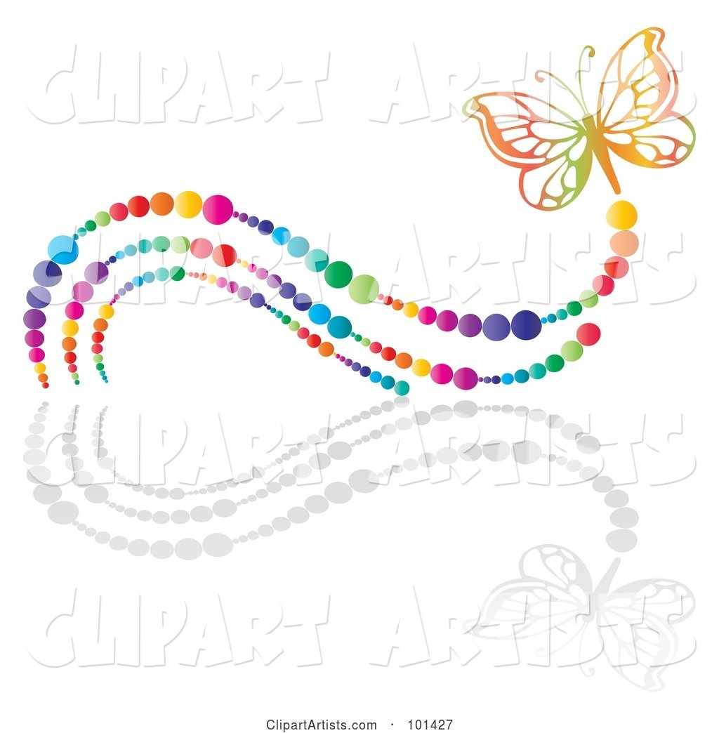 Colorful Butterfly with a Rainbow Bubble Trail and a Reflection