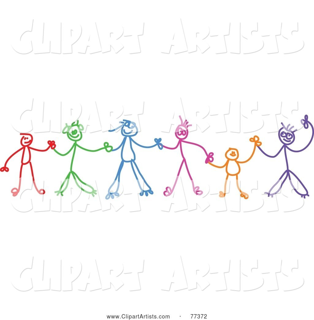 Colorful Chain of Stick Children Holding Hands
