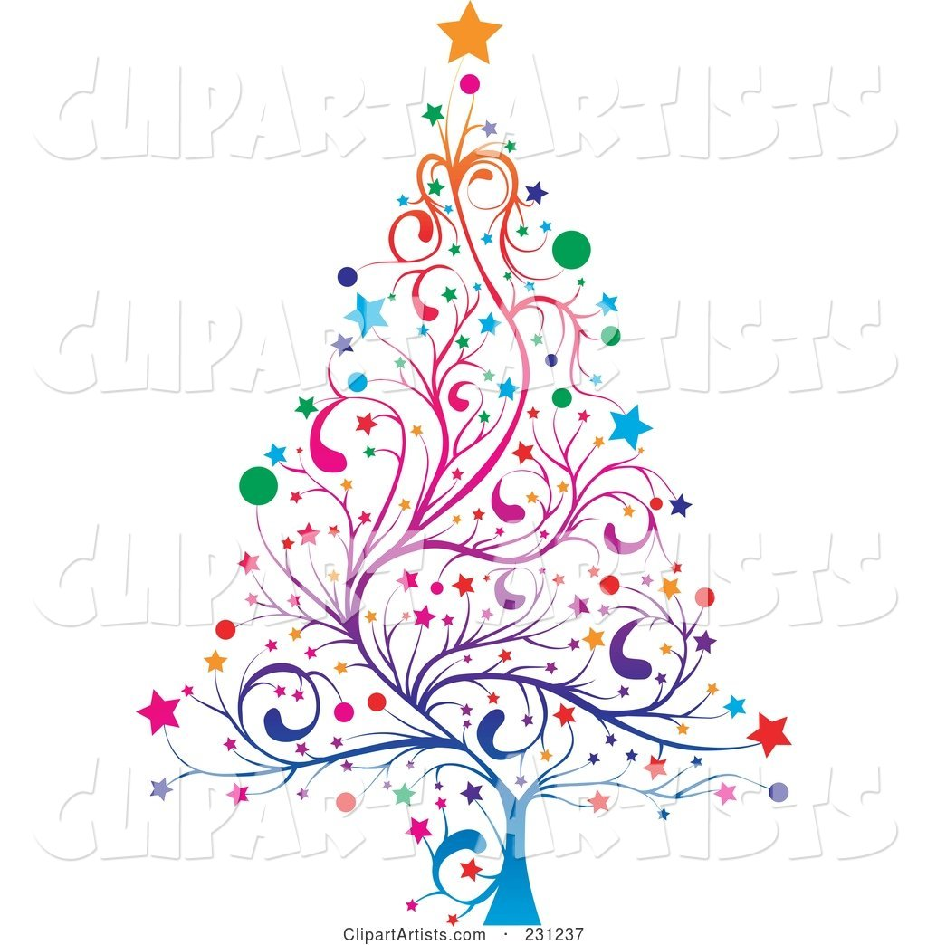 Colorful Floral Christmas Tree