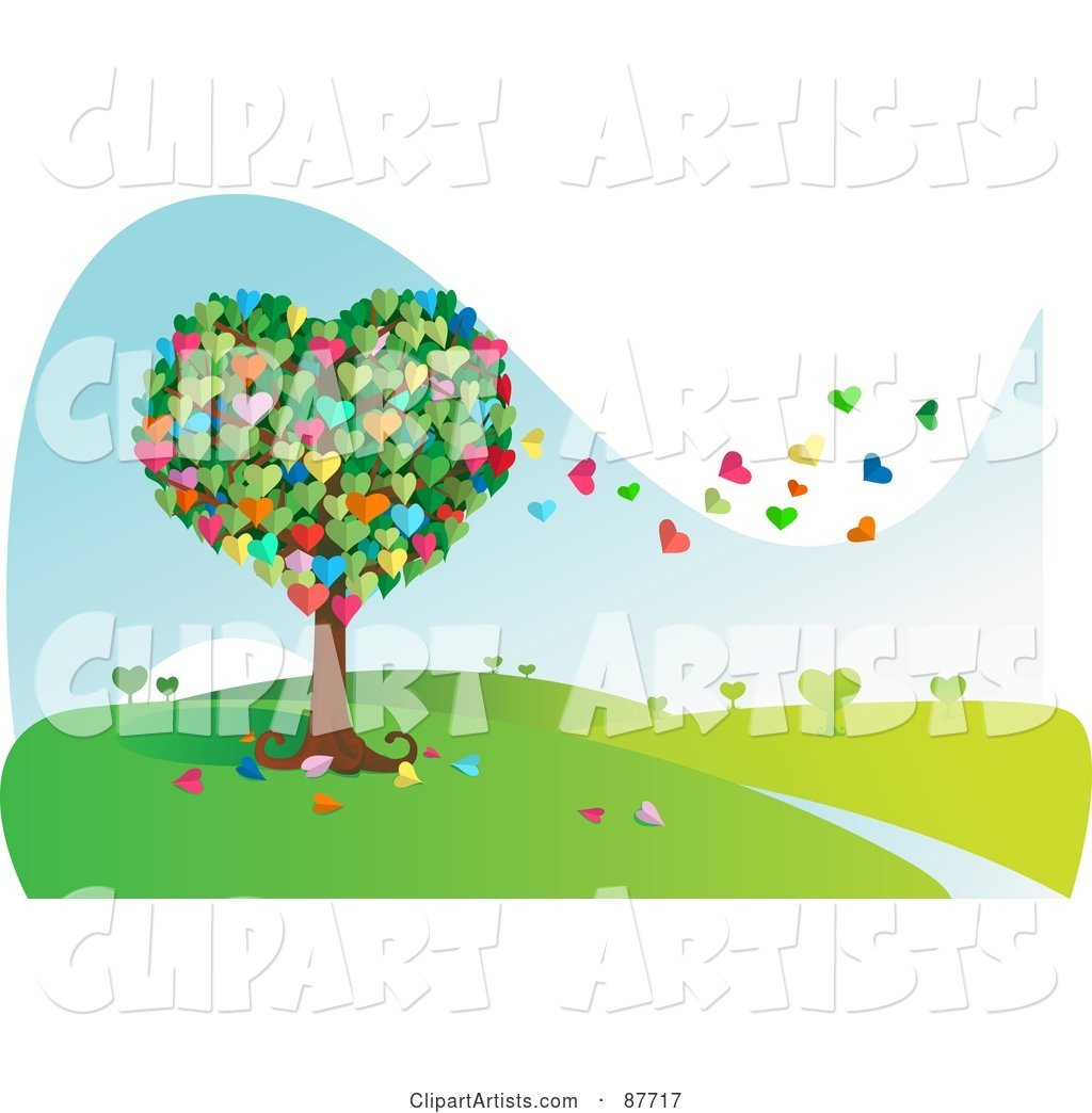 Colorful Heart Tree with Leaves Floating Away in the Breeze