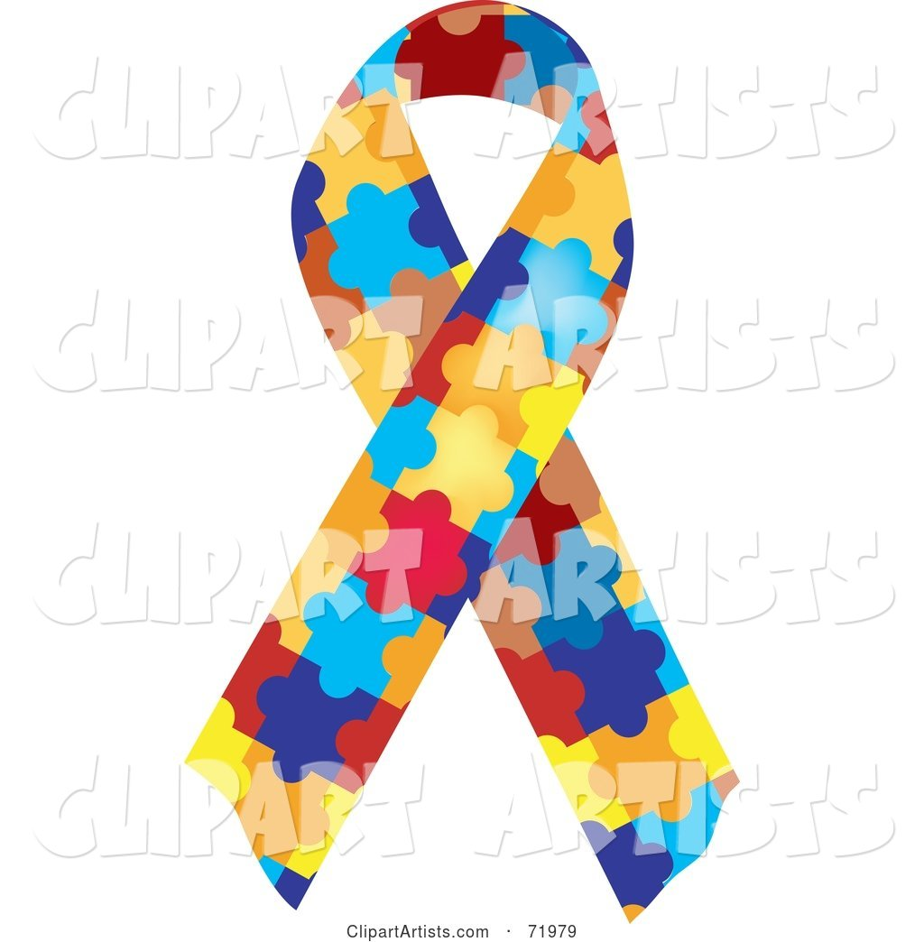 Colorful Jigsaw Puzzle Piece Autism Awareness Ribbon