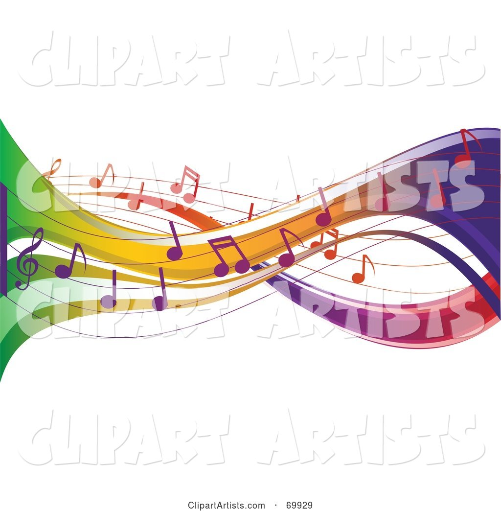 Colorful Music Note Flow Background on White