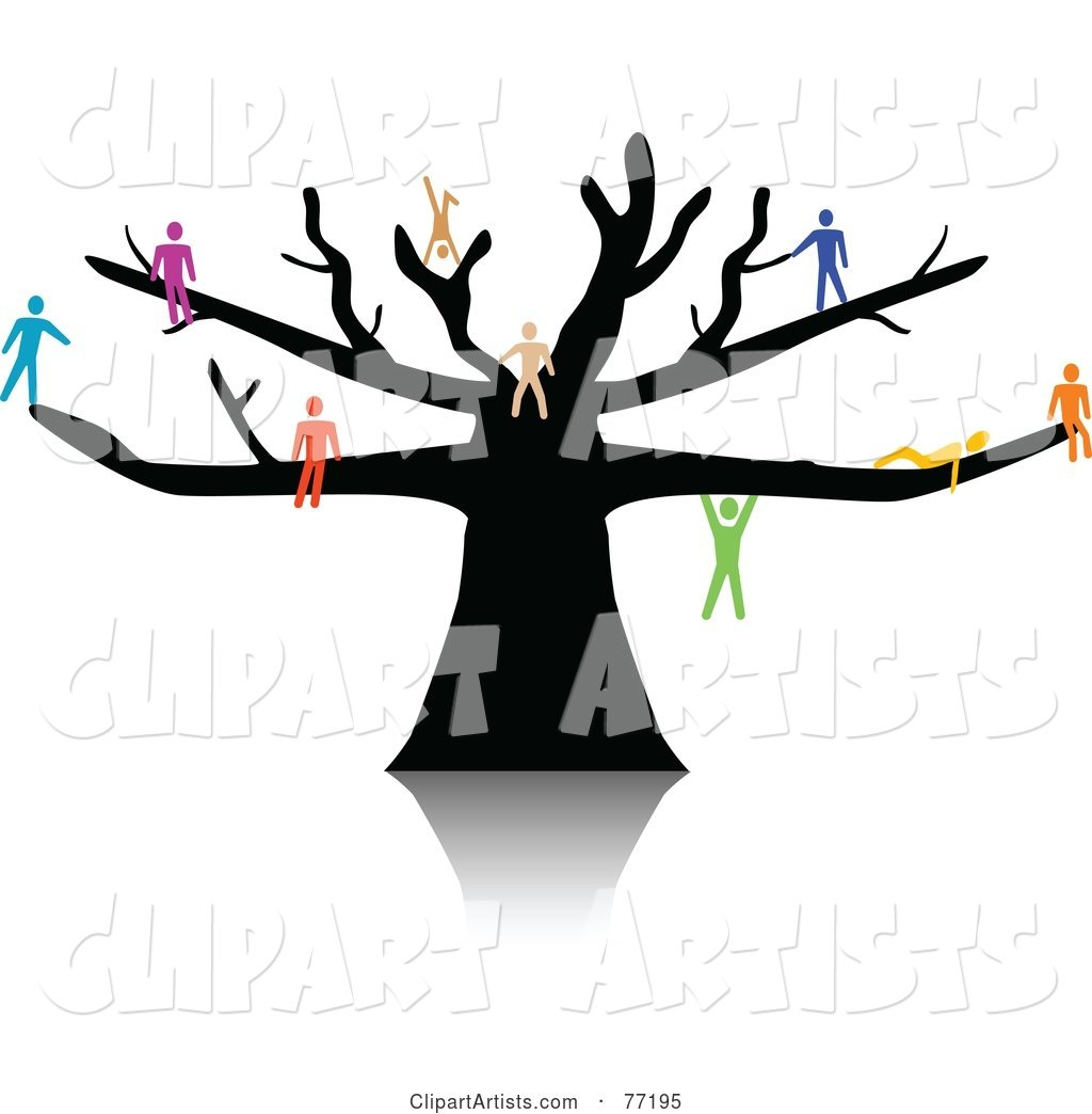 Colorful Paper People Climbing, Sitting and Hanging on a Black Tree