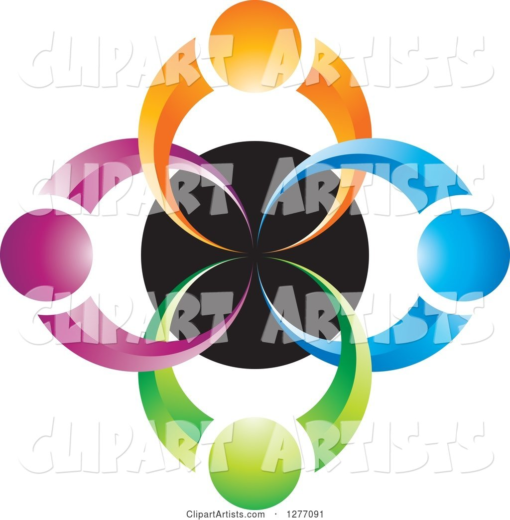 Colorful People over a Black Circle Teamwork Icon