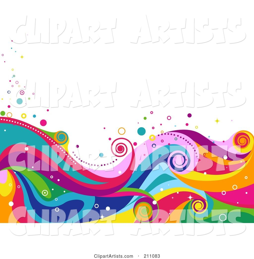 Colorful Swirly Wave Background over White - 5