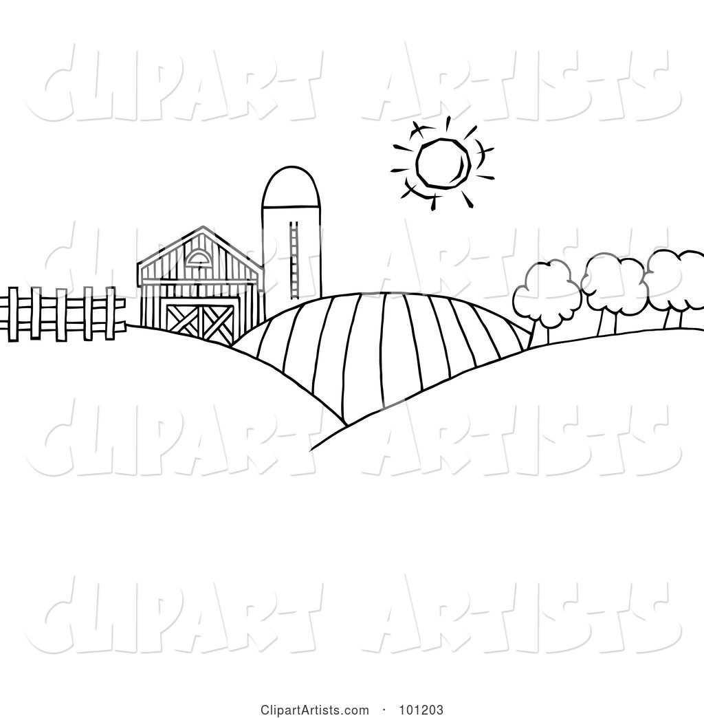 coloring page outline of rolling hills a farm and silo on farm land vector clipart coloring page outline of rolling hills a farm and silo on farm land by