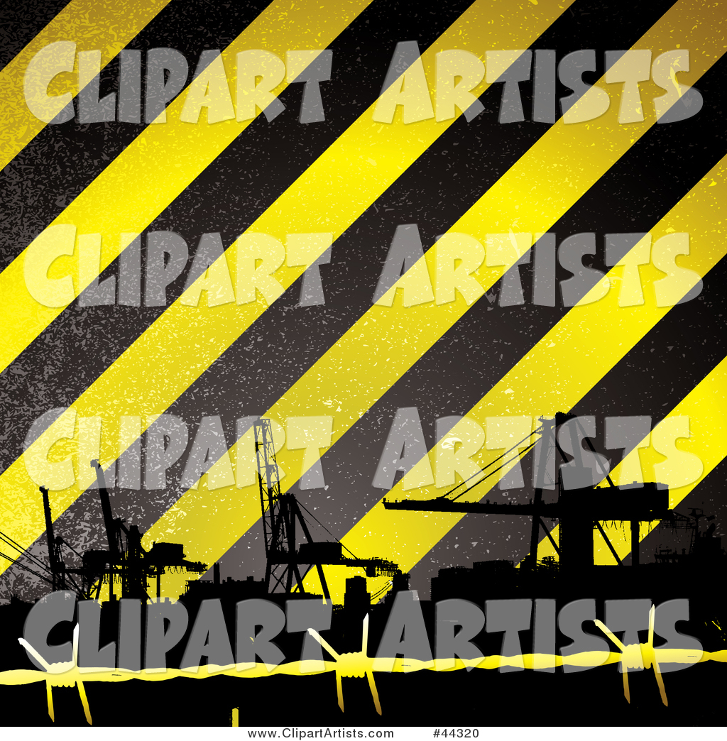 Construction Tower Cranes Against Yellow and Black Striped Background