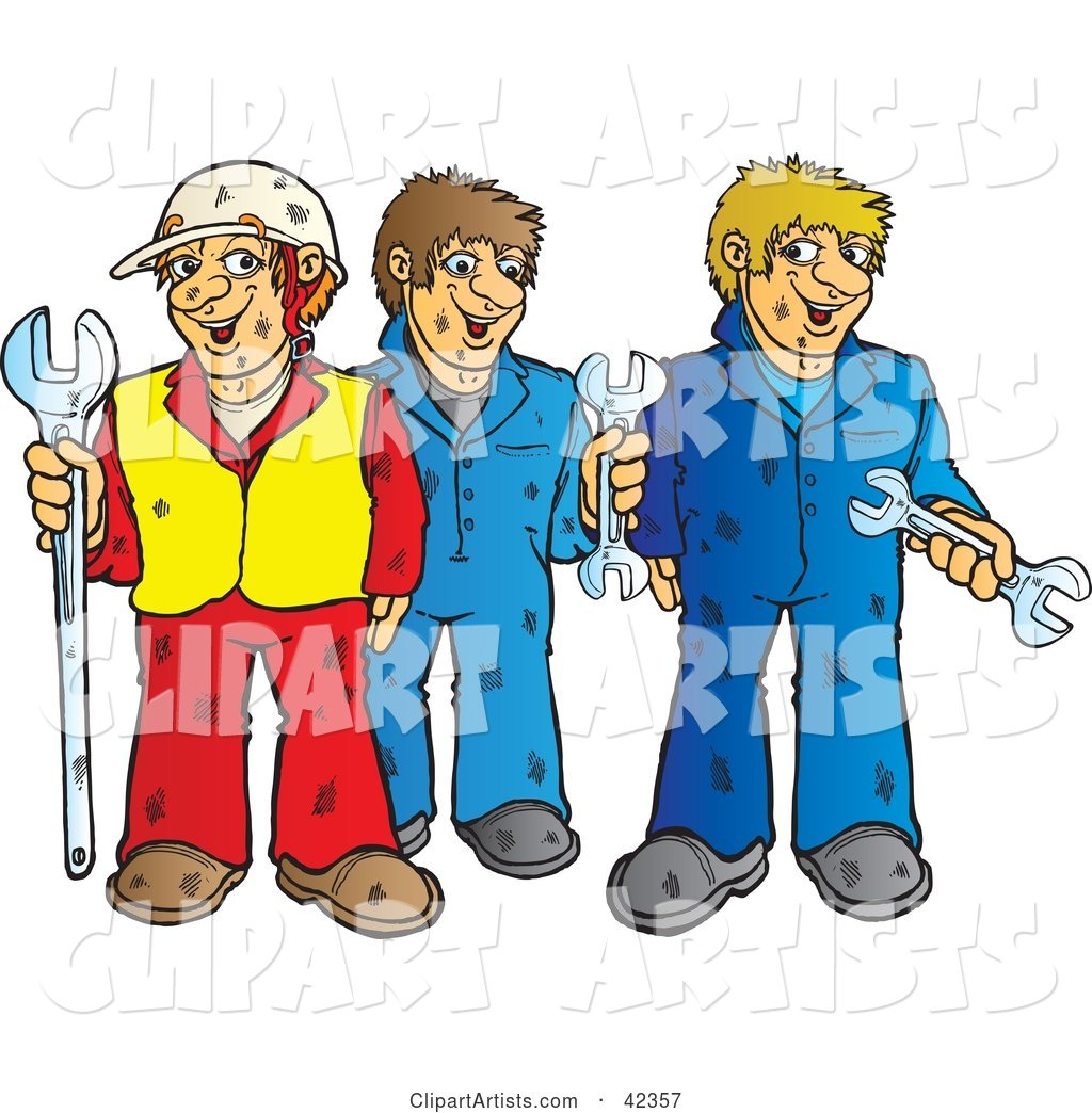 Construction Worker and Two Mechanics with Wrenches