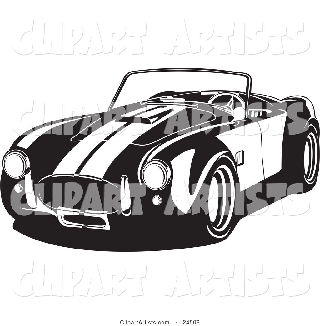Convertible 1960 Ac Shelby Cobra Car with Racing Stripes, Black and White