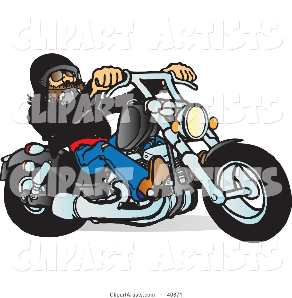 Cool Motorcycle Dude with a Beard, Riding His Black Chopper