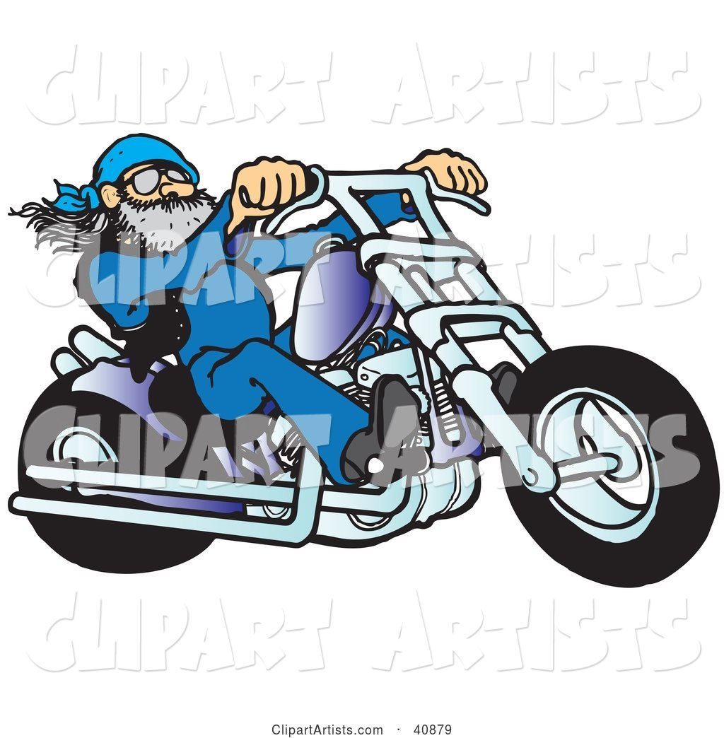 Cool Motorcycle Dude with a Beard, Riding His Blue Chopper