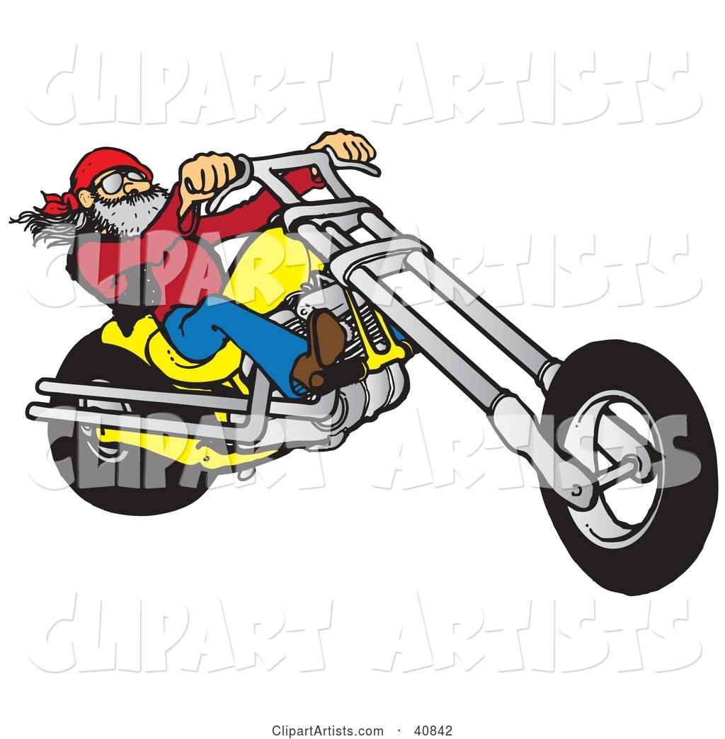 Cool Motorcycle Dude with a Beard, Riding His Yellow Chopper