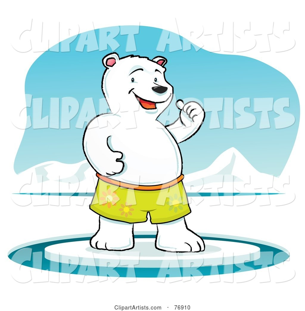 Cool Polar Bear Standing on Ice and Holding One Thumb up