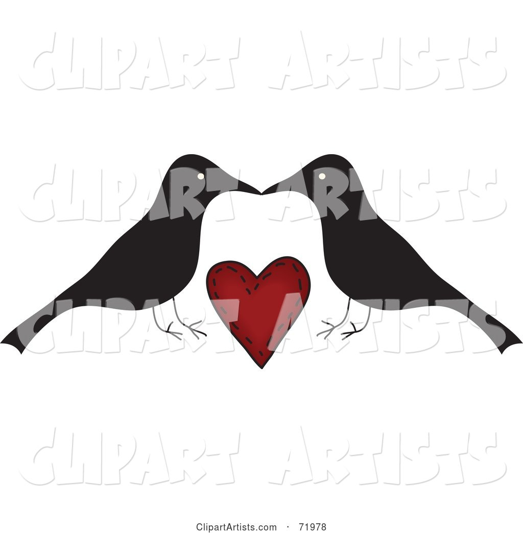 Crow Couple over a Red Heart