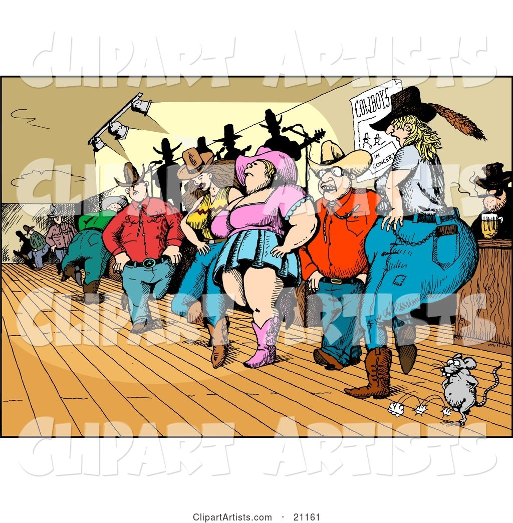 Crowd of Country Folk, Men and Women, Line Dancing in a Bar with a Mouse