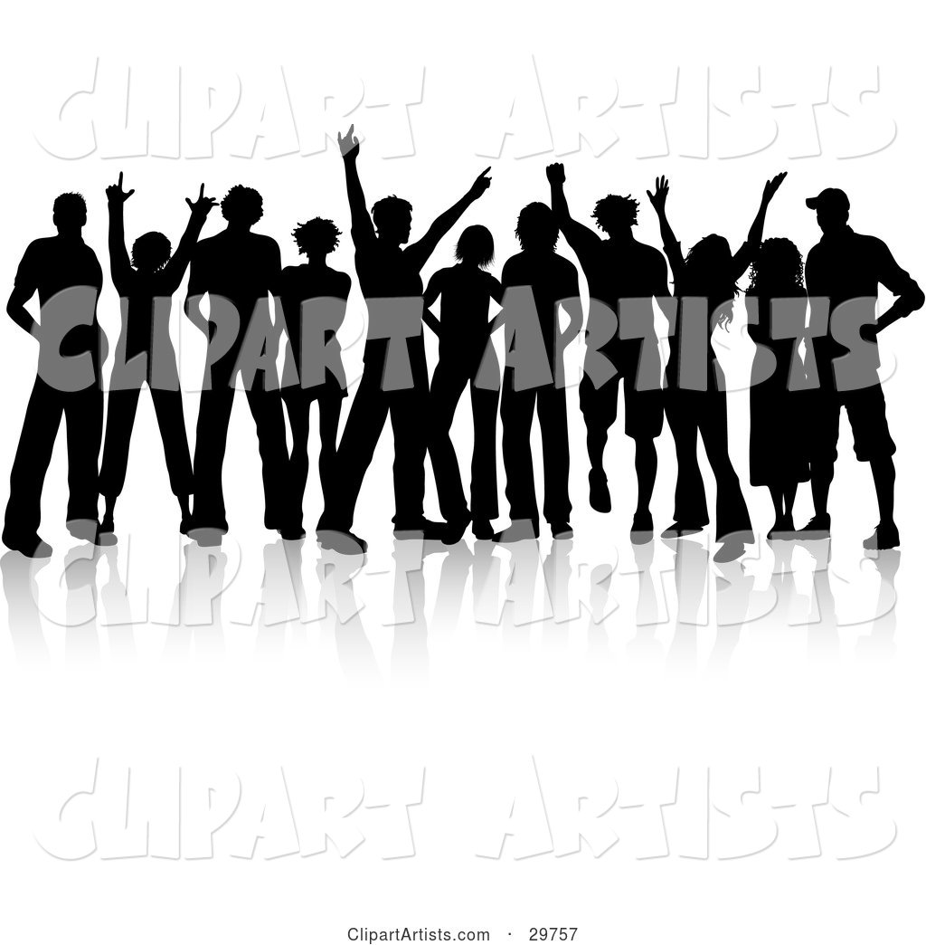 Crowd of Silhouetted Male and Female Teenagers Hanging out and Holding Their Arms up