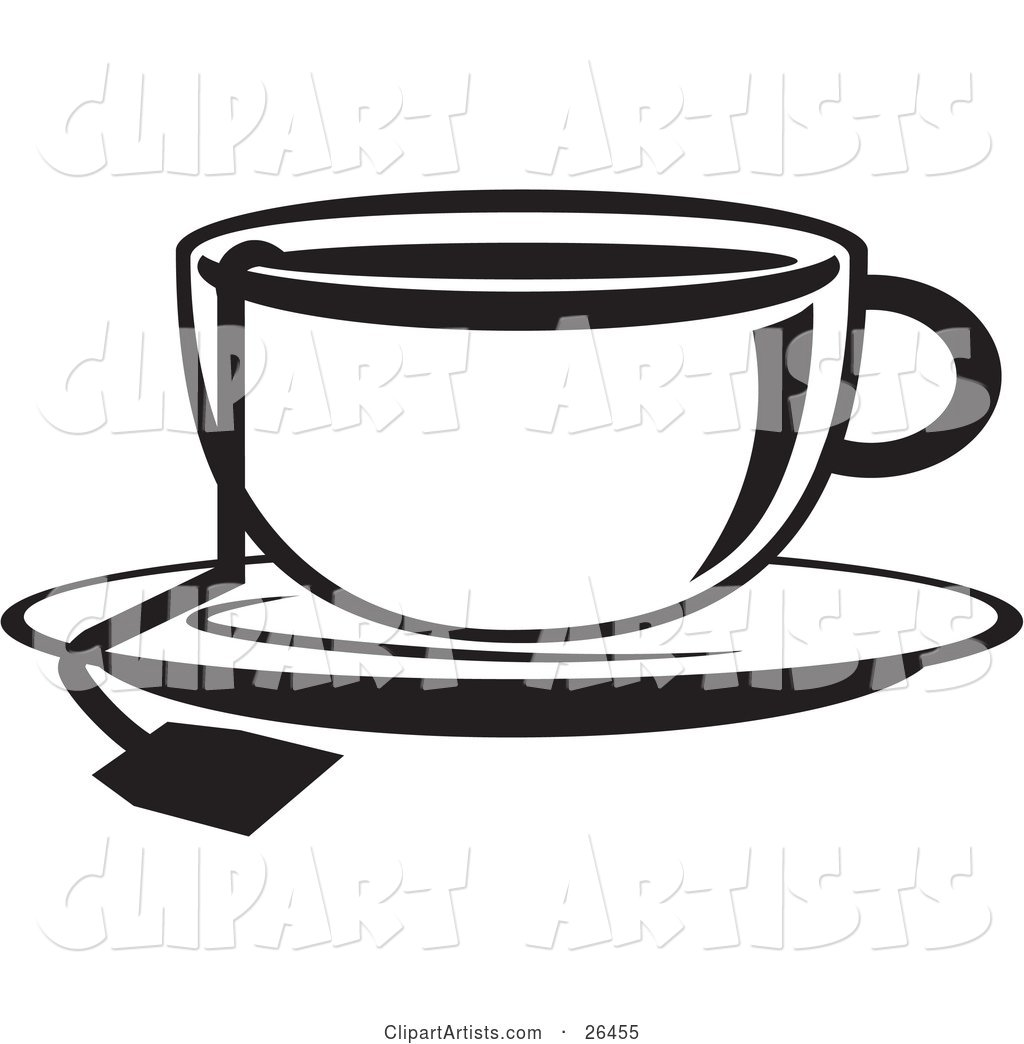 Cup of Hot Tea on a Saucer in Black and White