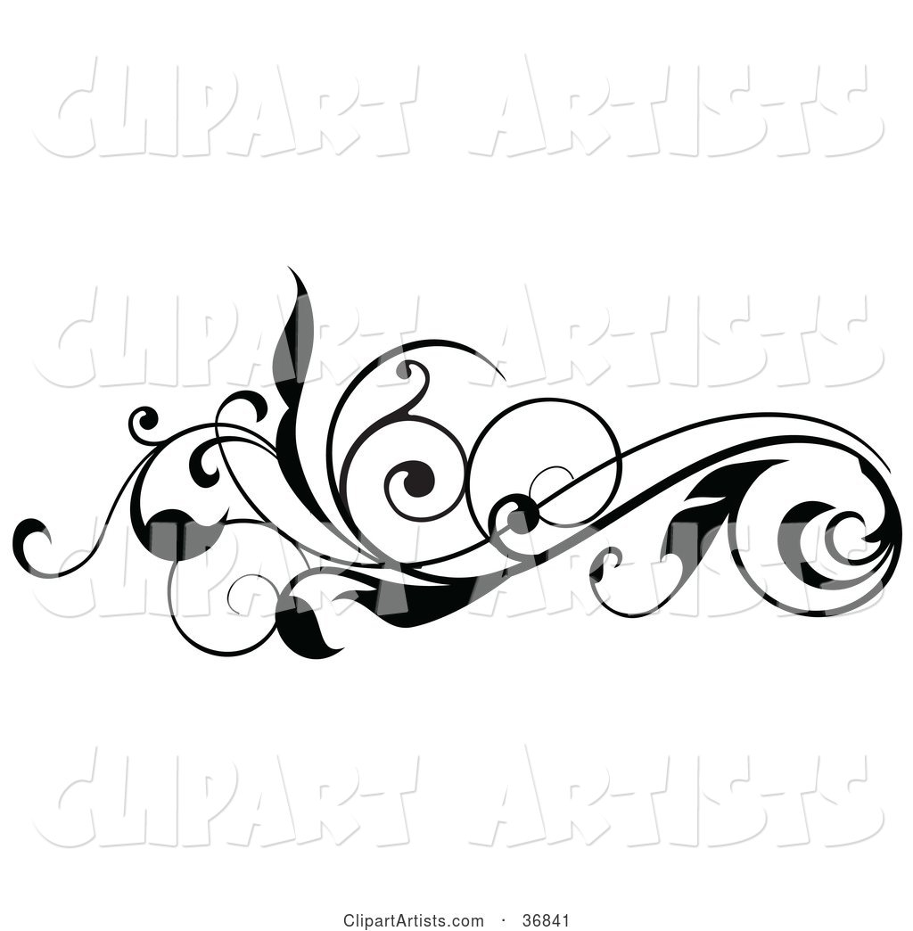 Curly Black Silhouetted Leafy Scroll Design Element