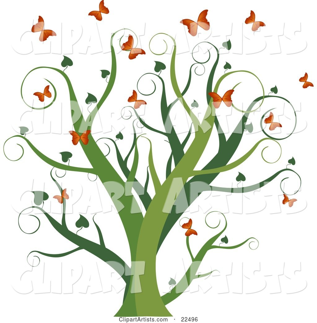 Curly Green Tree with Heart Leaves, Surrounded by Fluttering Orange Butterflies, on a White Background