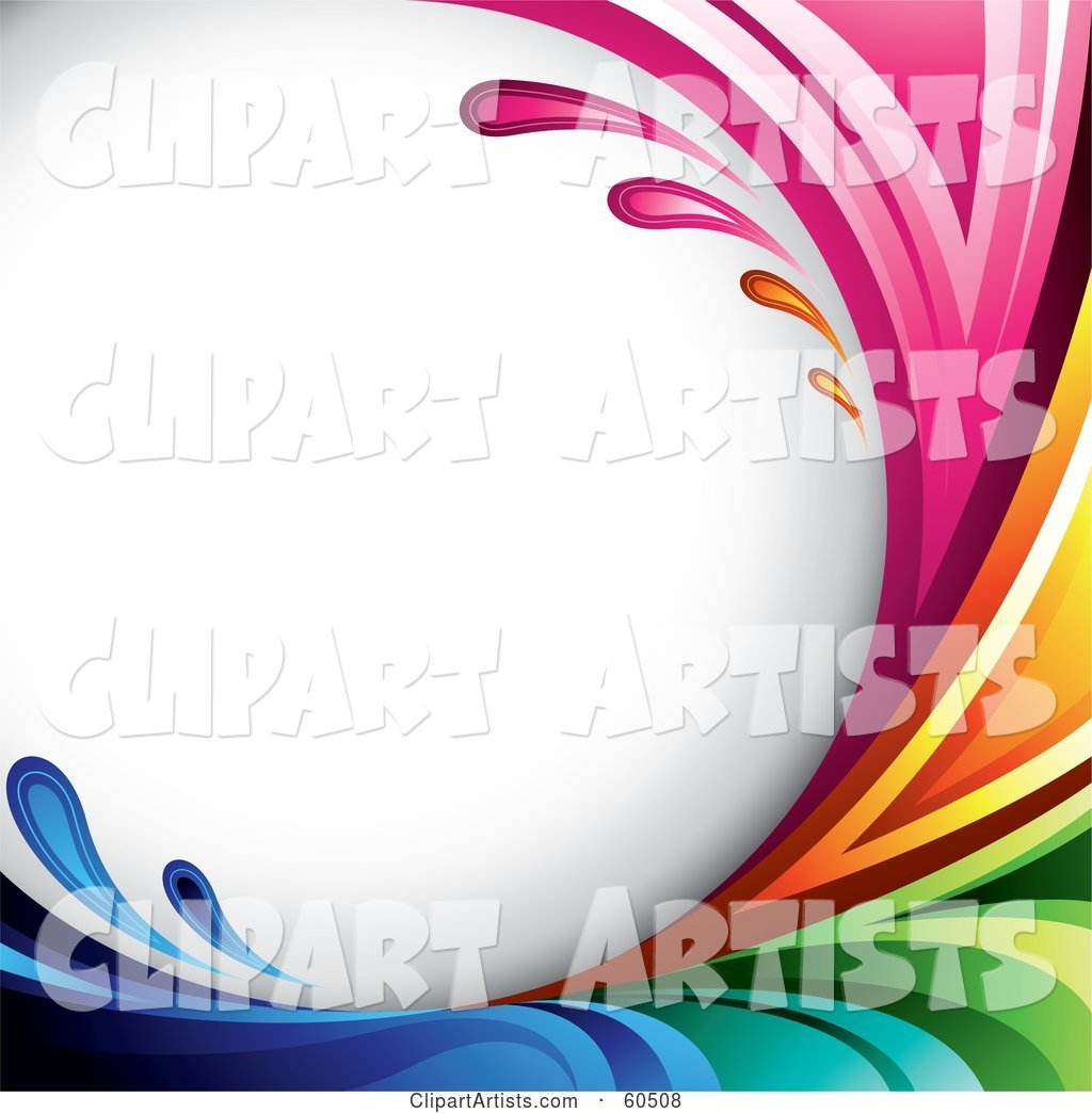 Curving Rainbow Splash Background on White