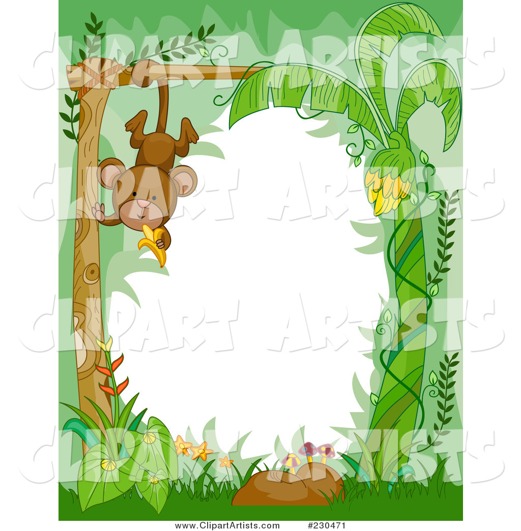 Cute Animal Border of a Hanging Monkey in the Jungle Around White Space