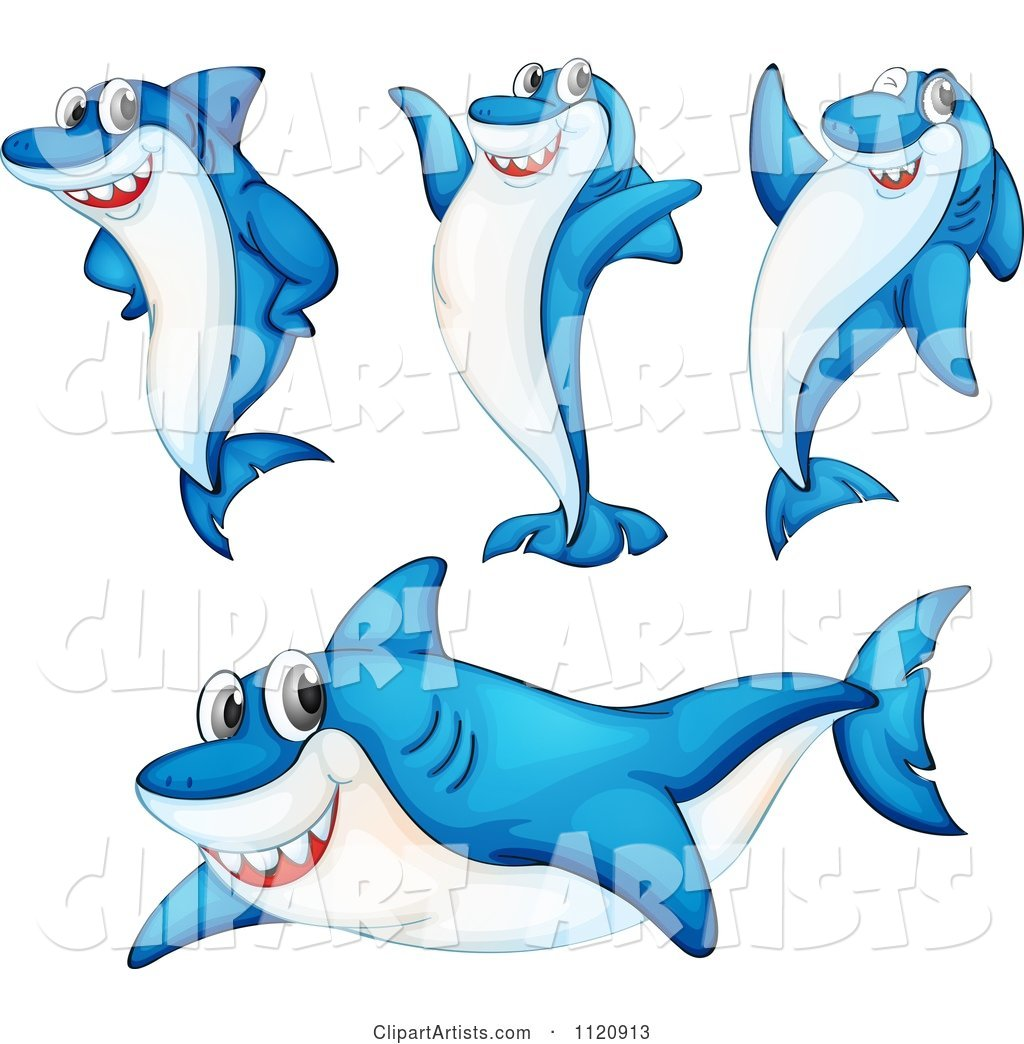Cute Blue Shark in Different Poses
