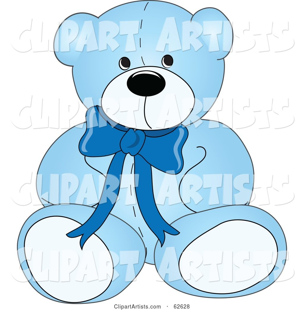 Cute Blue Teddy Bear with a Neck Bow