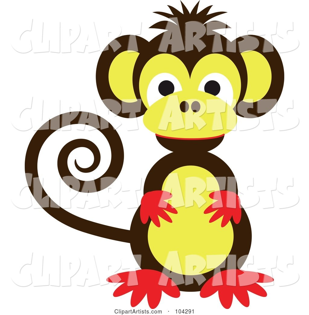 Cute Brown, Red and Yellow Monkey with a Curled Tail