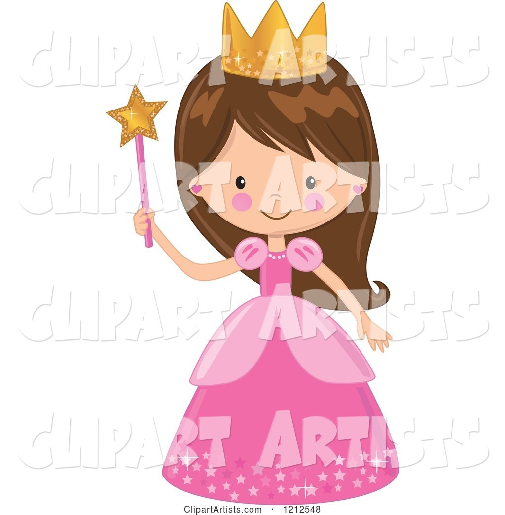Cute Brunette Princess Girl in a Pink Dress, Holding a Wand