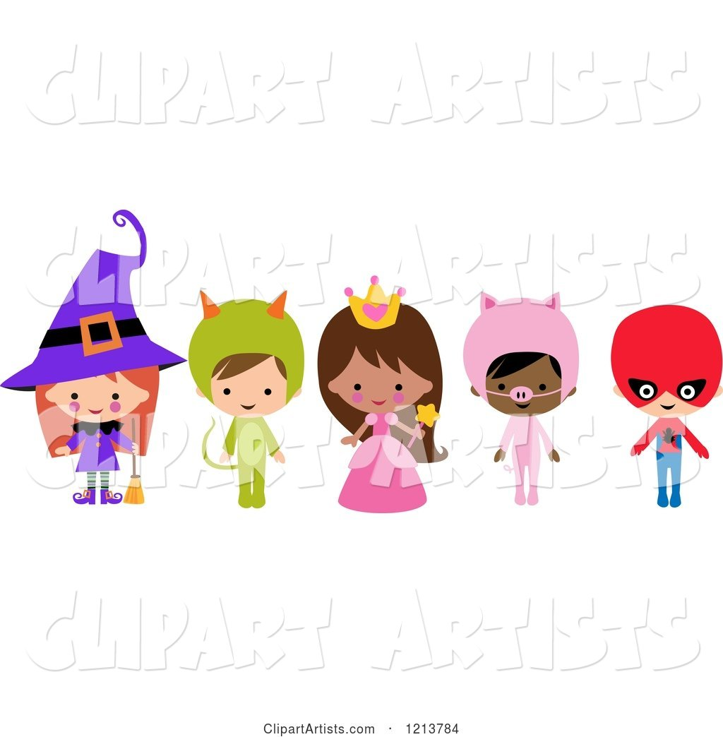 Cute Children in Witch Princess Pig Super Hero Halloween Costumes
